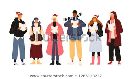Człowiek śpiewać piosenka christmas odizolowany osoby Zdjęcia stock © robuart