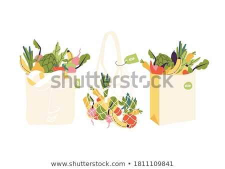 Tote bag with Zero waste logo with green leaves  Stock photo © Zsuskaa