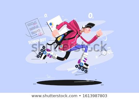 Csávó sport egyenruha tart laptop iskolás fiú Stock fotó © jossdiim
