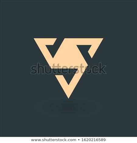 Letter V pyramid geometric triangle with three elements logo design. Trinity symbol concept. Busines Stock photo © kyryloff