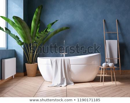 現代 青 バス インテリア 壁 シャワー ストックフォト © albund