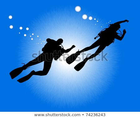 silhouettes of two divers Stock photo © mayboro