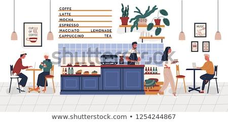 Coffeehouse Interior Customers Drinking Coffee Stock photo © robuart