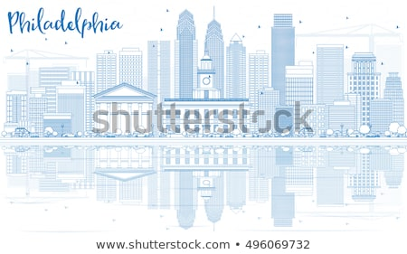 Outline Philadelphia Skyline with Blue Buildings and Reflections Stock photo © ShustrikS