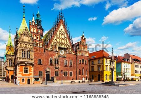 красивой старый город зале небе часы синий Сток-фото © elxeneize