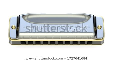 Szájharmonika 3D 3d render illusztráció izolált fehér Stock fotó © djmilic
