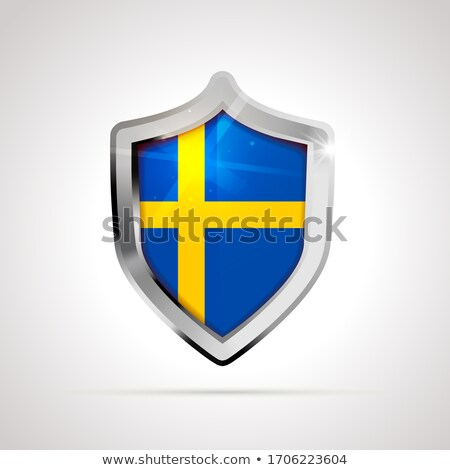 Sweden flag projected as a glossy shield on a white background Stock photo © evgeny89