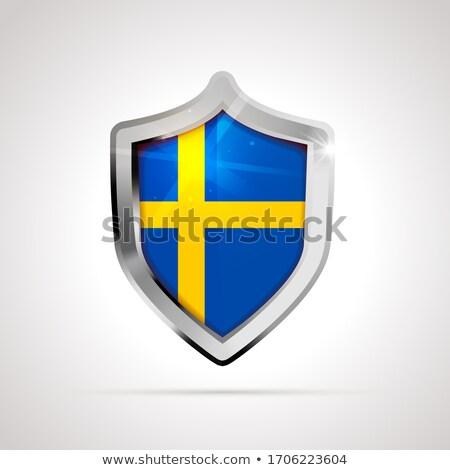Svédország zászló fényes pajzs fehér izolált Stock fotó © evgeny89