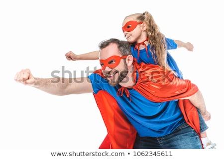 Lányok apuci szuperhős jelmez apa gyerekek Stock fotó © choreograph