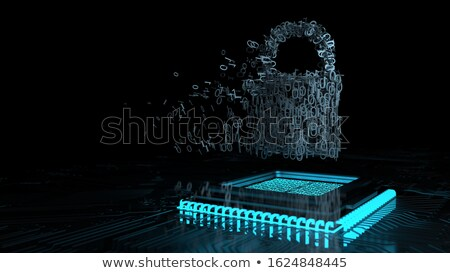 Data encryption, d-lock with microchip. 3d illustration. Stock photo © limbi007