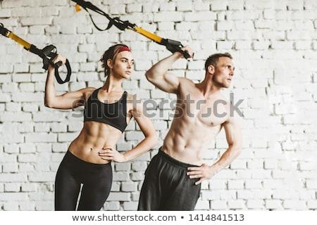 фитнес человека баннер подвеска сопротивление подготовки Сток-фото © Maridav