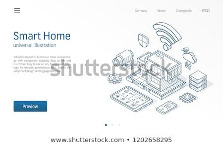 температура телефон изометрический икона вектора знак Сток-фото © pikepicture