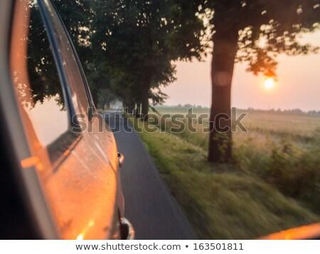 Сток-фото: Blurred Car Early Morning Sunrise