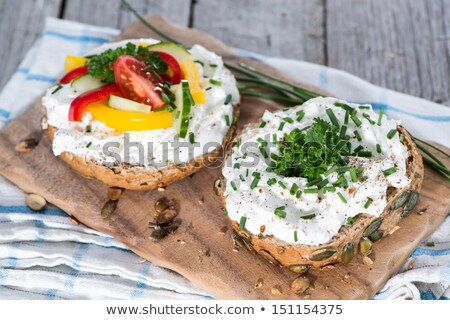 delicious cream cheese with chives and vegetables stock photo © joannawnuk