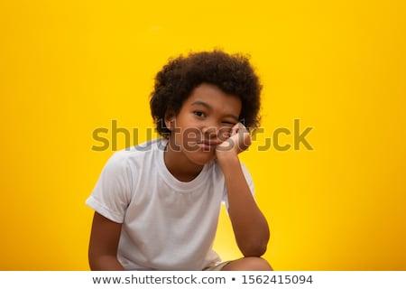Foto stock: Amuado · infeliz · menino · deprimido · triste · sessão