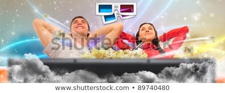 Sevimli çift izlerken film ev sineması Stok fotoğraf © HASLOO