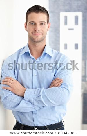 Portré jól kinéző kaukázusi amerikai üzletember szürke Stock fotó © HASLOO