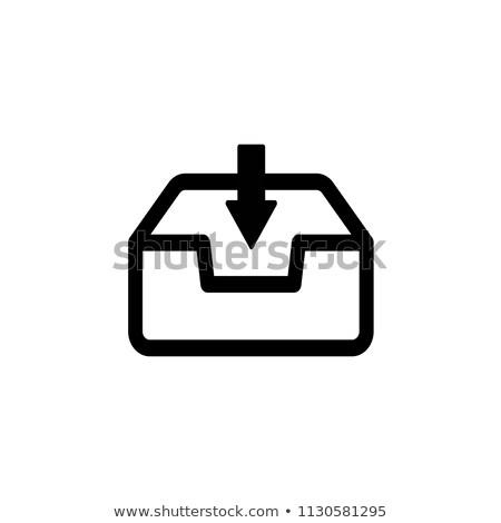 受信トレイ アイコン 白 青 矢印 オブジェクト ストックフォト © jossdiim