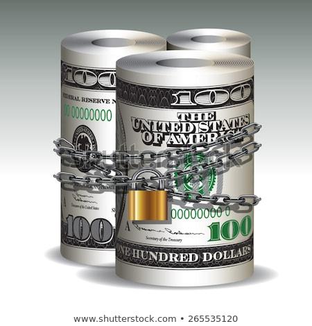 dólares · trancado · cadeia · branco · negócio · fundo - foto stock © andreykr