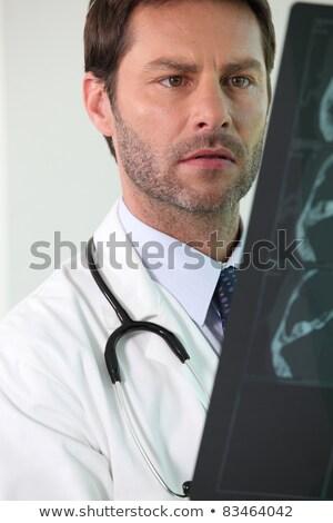 Foto stock: Preocupado · médico · examinar · médicos · pelo · salud