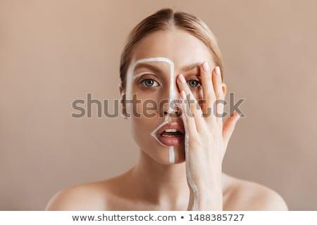 mooie · vrouw · gezicht · handen · witte · vrouw · hand - stockfoto © Rob_Stark