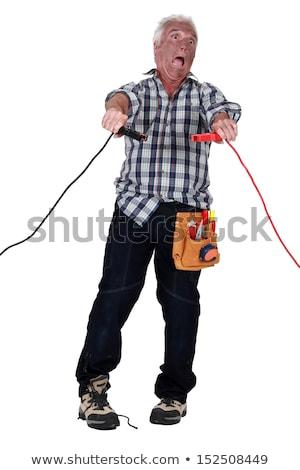 elektrische · schok · jongen · man · haren · rook - stockfoto © photography33