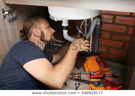 Portre yakışıklı tesisatçı adam mutlu inşaat Stok fotoğraf © photography33