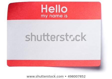Targhetta bianco plastica etichetta badge isolato Foto d'archivio © devon