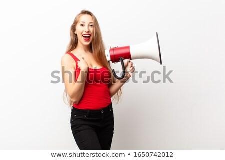 Szőke nő hangszóró nő arc modell szín Stock fotó © photography33