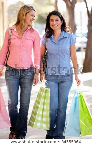 Dois mulher compras trio sorrir amigos Foto stock © photography33