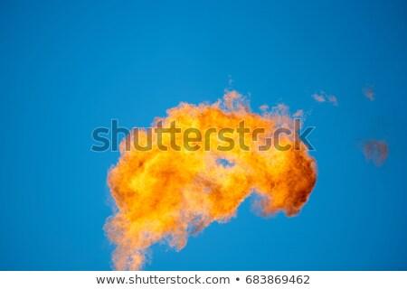 burning oil flare on a blue sky stock photo © rufous