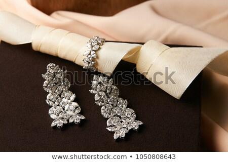 ezüst · fülbevalók · ajándék · piros · szív · doboz - stock fotó © simply