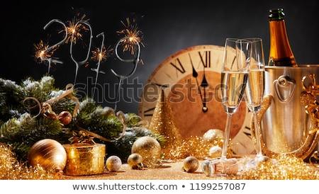 Foto stock: Medianoche · champán · año · nuevo · gafas · listo · boda