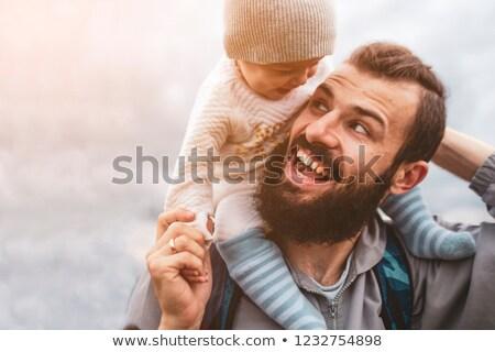 Aantrekkelijk vader zoon op de rug kinderen man Stockfoto © wavebreak_media