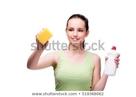 Sorrindo esponja detergente spray branco Foto stock © wavebreak_media