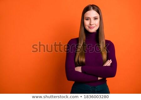 Espressiva ragazza verde campo cielo Foto d'archivio © acidgrey