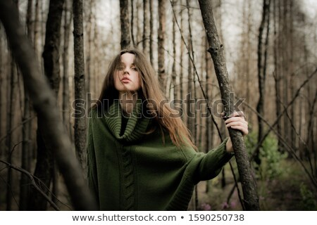 Barna hajú kifakult aranyos hosszú haj arc portré Stock fotó © carlodapino