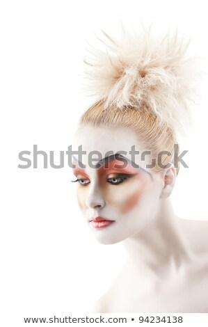 loiro · mulher · olhando · direito · retrato · isolado - foto stock © carlodapino