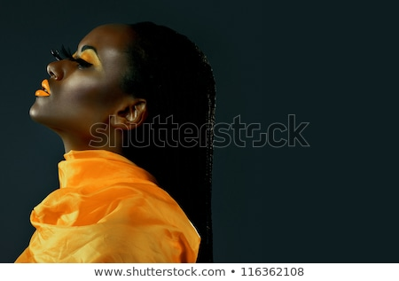 girl with feathered makeup with closed eyes Stock photo © carlodapino