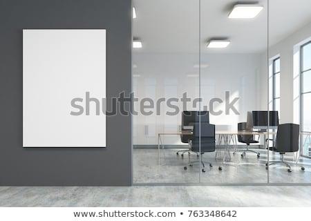 Blank White Vertical Billboard on a Dark Grey Background stock photo © maxpro