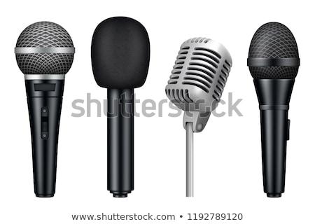 Valósághű mikrofon illusztráció technológia háttér hangszóró Stock fotó © grasycho