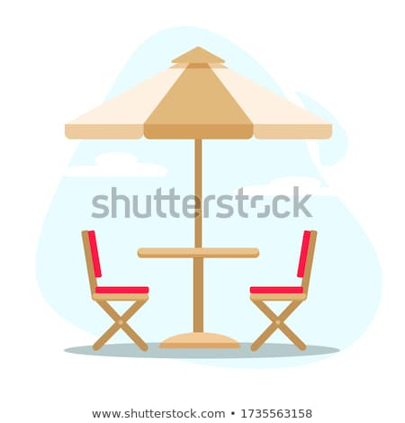Table, chairs and parasol at the tropical beach Stock photo © moses