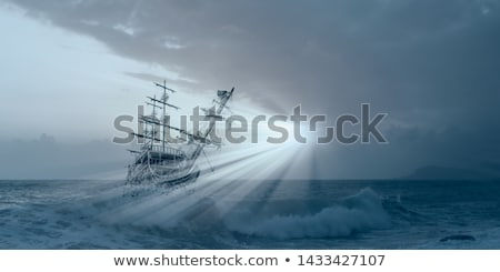 Barco céu laranja navio onda Foto stock © mariephoto