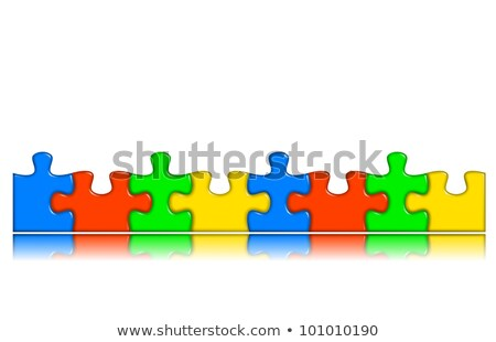 Combined multi-color puzzle pieces with reflection stock photo © make