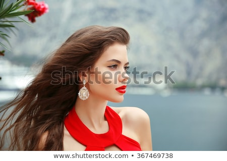美しい · 若い女性 · 長髪 · 黒 · ブラジャー · 波状の - ストックフォト © victoria_andreas