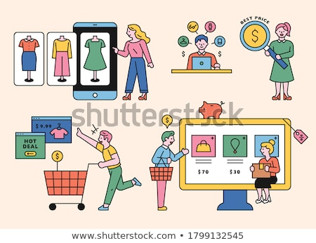 торговых Интернет иконы иконки компьютер веб магазин Сток-фото © fenton