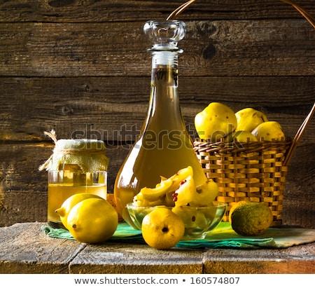alcohol quince liqueur sliced fruit prepare wooden setting Stock photo © fotoaloja