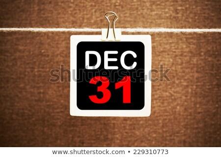 Aralık 31 tahta afiş 3D yalıtılmış Stok fotoğraf © marinini