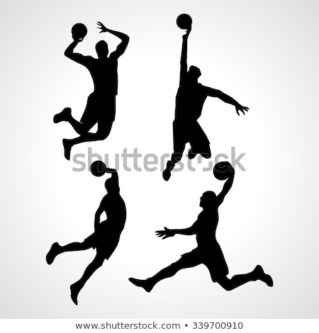 basketball players silhouette collection in pass position stock photo © istanbul2009
