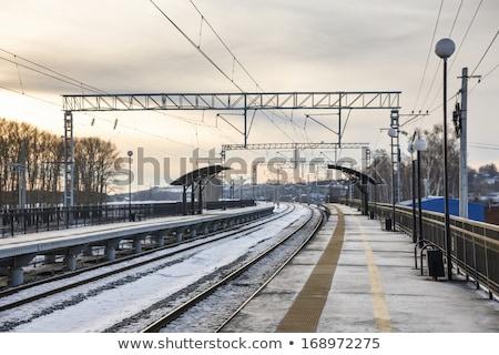 tél · állomás · felhők · fém · fák · utazás - stock fotó © meinzahn